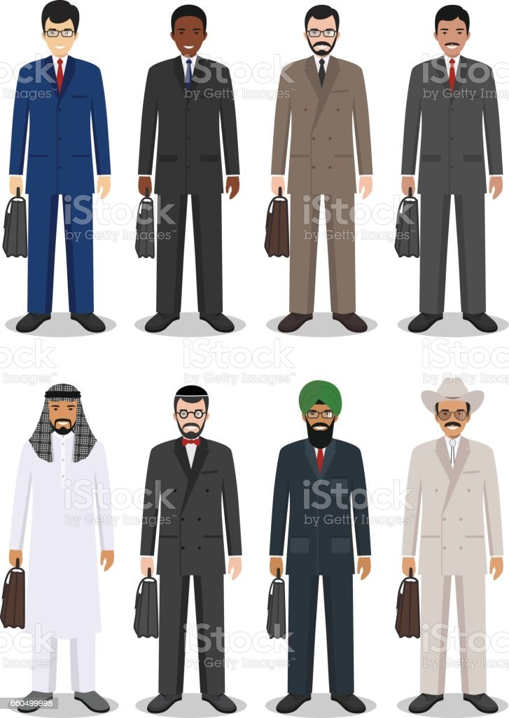 Business team and teamwork concept. Set of different detailed illustration of businessmen in flat style on white background. Different nationalities and dress styles. Vector illustration. vector art illustration