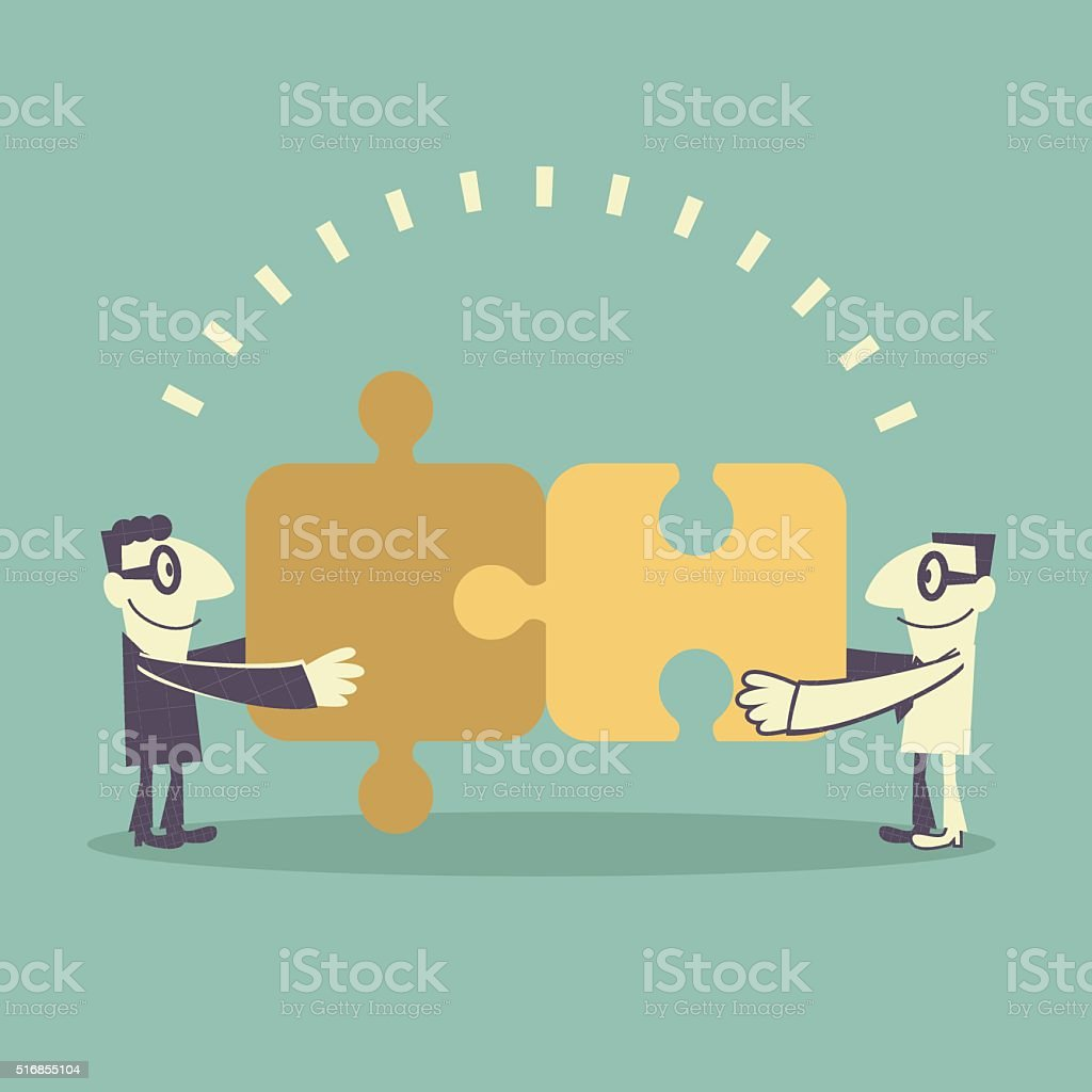 Business team (Businessman) assembling jigsaw puzzle (putting puzzle together) vector art illustration