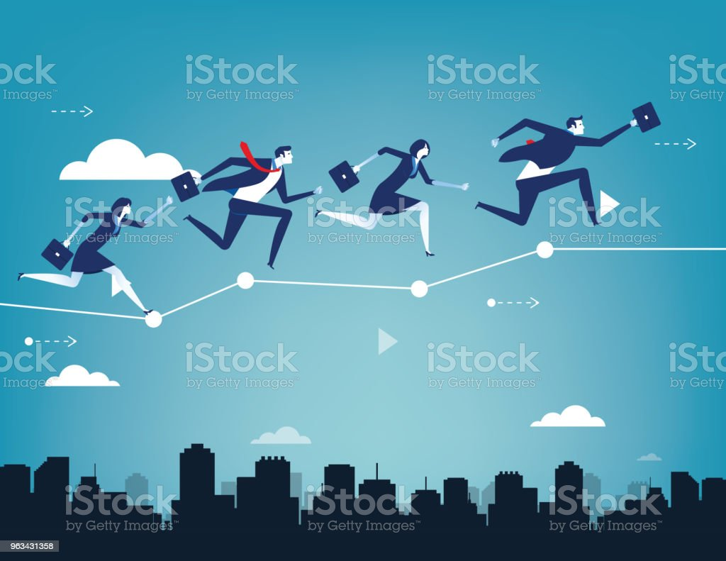 Business team balancing on business chart. Concept business success vector illustration. Flat character people style design. - Grafika wektorowa royalty-free (Abstrakcja)
