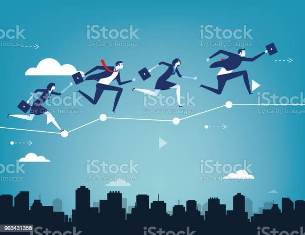 Bilansowanie Zespołu Biznesowego Na Wykresie Biznesowym Ilustracja Wektorowa Sukcesu Biznesowego Koncepcji Płaski Charakter Ludzi Stylu Projektowania - Stockowe grafiki wektorowe i więcej obrazów Abstrakcja