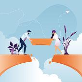 Business team building bridge over cliff gap-Business teamwork concept
