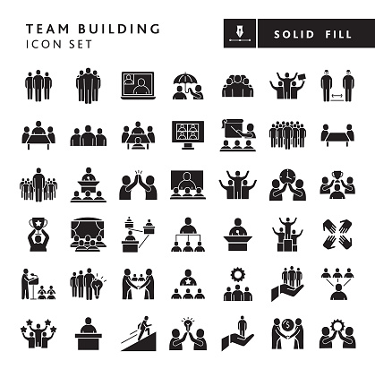 Vector illustration of a big set of 43 business team building solid icons. Includes concepts like business team building, groups of teams, leaders and managers, business people, teamwork, working together, businessmen, meetings, training and education, success, motivating, partnership, high five, collaboration on white background with no white box below. Fully editable for easy editing. Simple set that includes vector eps and high resolution jpg in download.