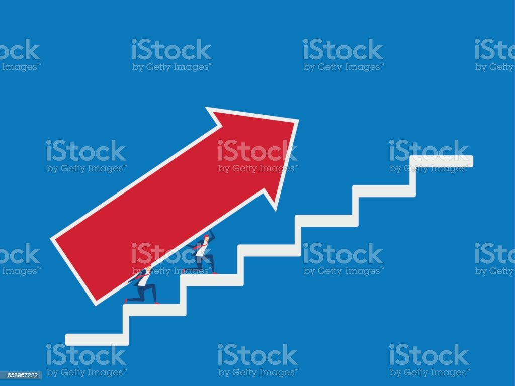Business team carrying growth arrow graph on stairs to target and business team carrying growth arrow graph on stairs to target and success stairs step to geenschuldenfo Images
