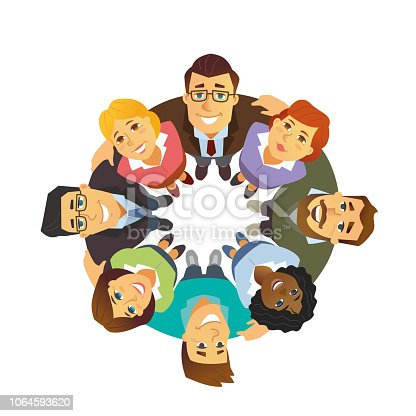 Business team - cartoon people character isolated illustration on white background. A composition with colleagues, international partners standing together in a circle, supporting each other