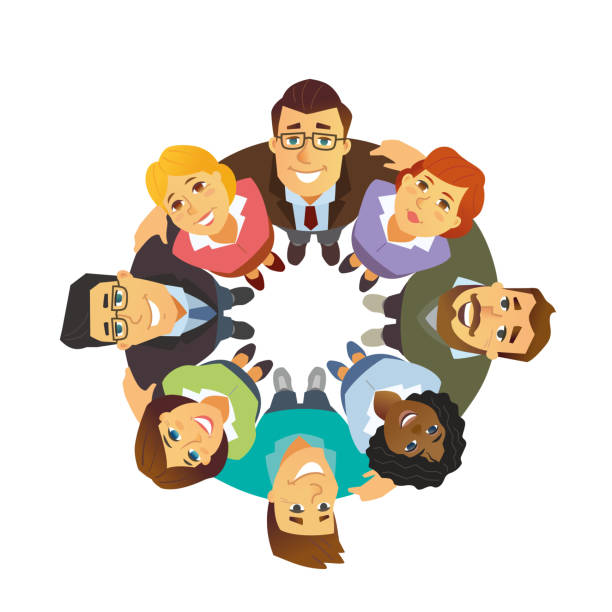 Business team - cartoon people character isolated illustration Business team - cartoon people character isolated illustration on white background. A composition with colleagues, international partners standing together in a circle, supporting each other colleague stock illustrations