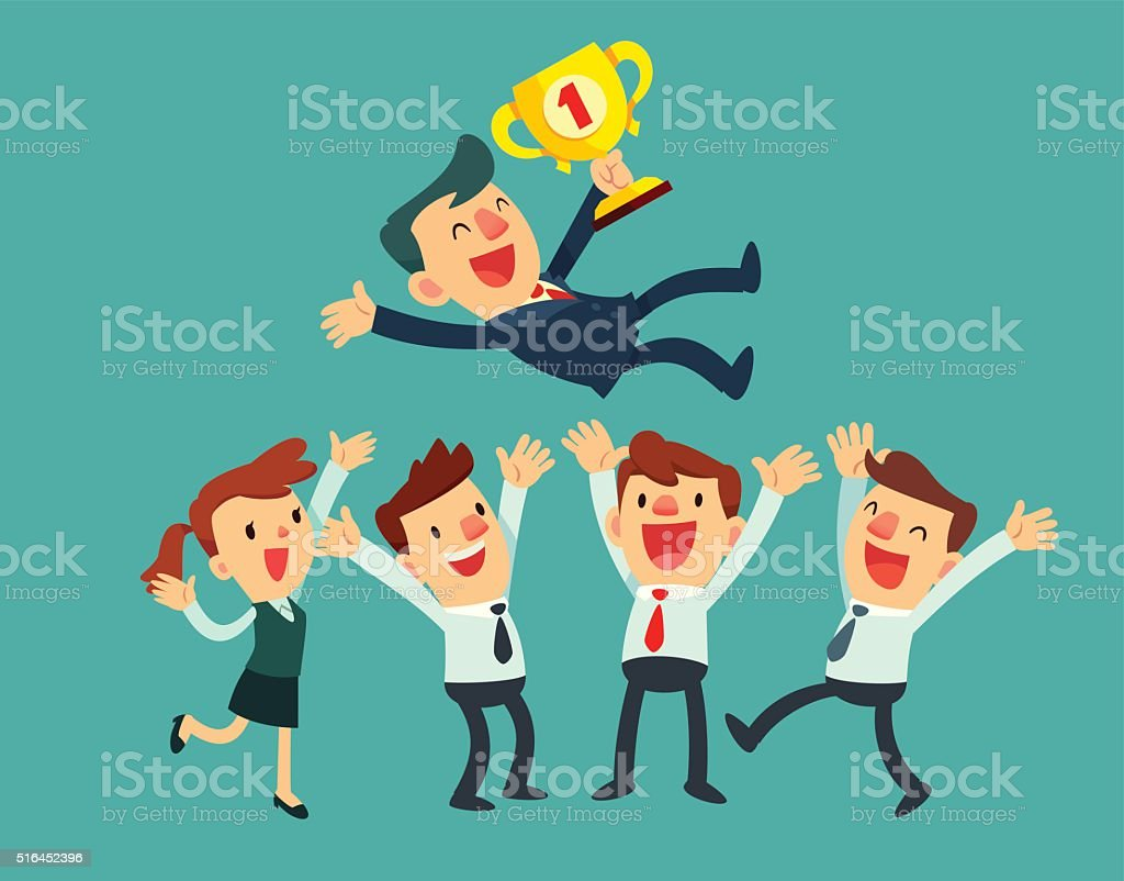 business team celebrate their success vector art illustration