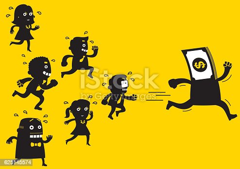 Concept business cartoon of a team of business people chasing Mr Money.