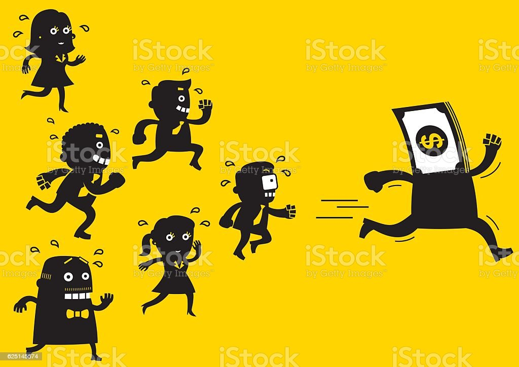 Business Team Chasing Money | Yellow Business Concept vector art illustration