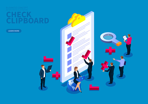Business team checking clipboard list