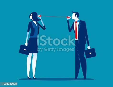 Business team communication through tin cans, Achievement, Technology, Teamwork