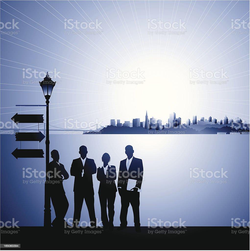 Business Team:  Deciding the next step royalty-free business team deciding the next step stock vector art & more images of arrow symbol