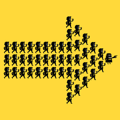 Business Team Direction (Arrow Formation)   Yellow Business Concept