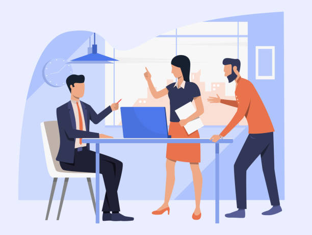 Business team discussing project Business team discussing project. Employees arguing with boss vector illustration. Corporate communication concept for banner, website design or landing web page arguing stock illustrations