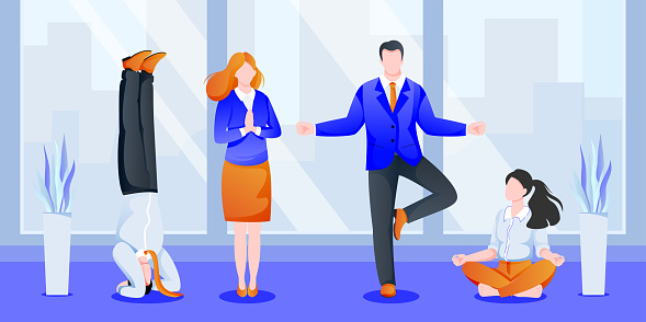 Business team do yoga in office. Women, men meditating in cabinet. Vector illustration. Concept for relaxation at work