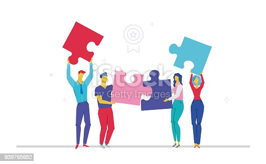 istock Business team doing a puzzle - flat design style colorful illustration 939765652