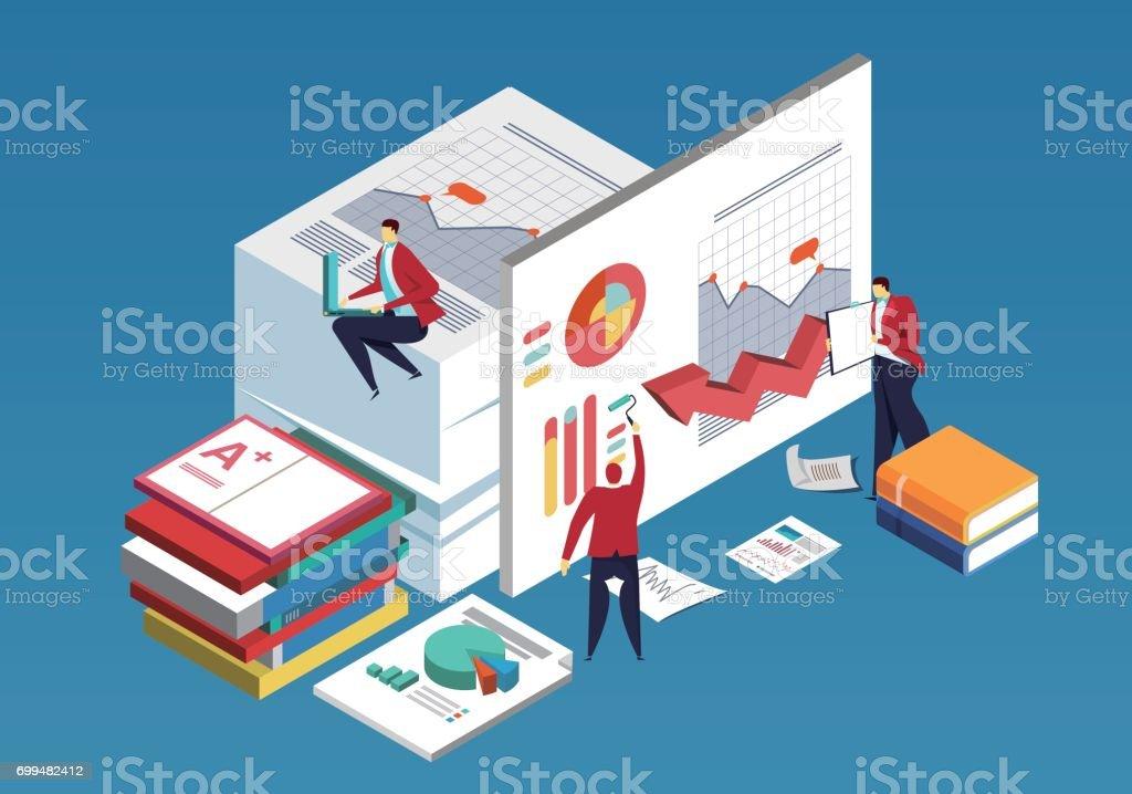 Business team doing data analysis vector art illustration