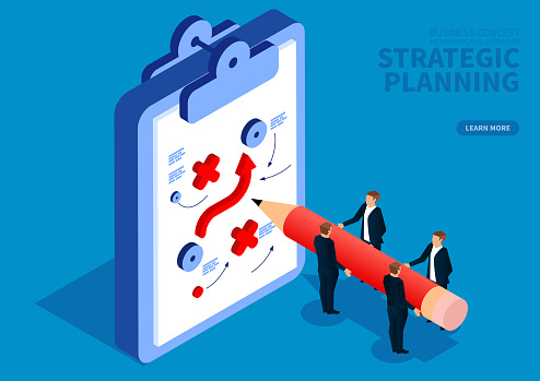 Business team draws strategic plan