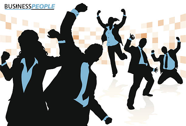 Business Team Enjoying Success vector art illustration