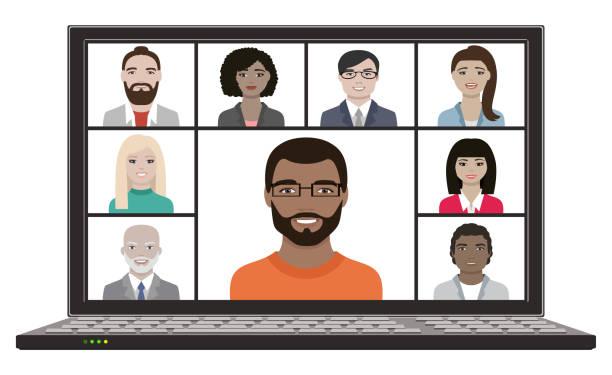 stockillustraties, clipart, cartoons en iconen met bedrijfsteam bekijkt hangout met verre videovergadering online op laptopscherm - medewerkerbetrokkenheid
