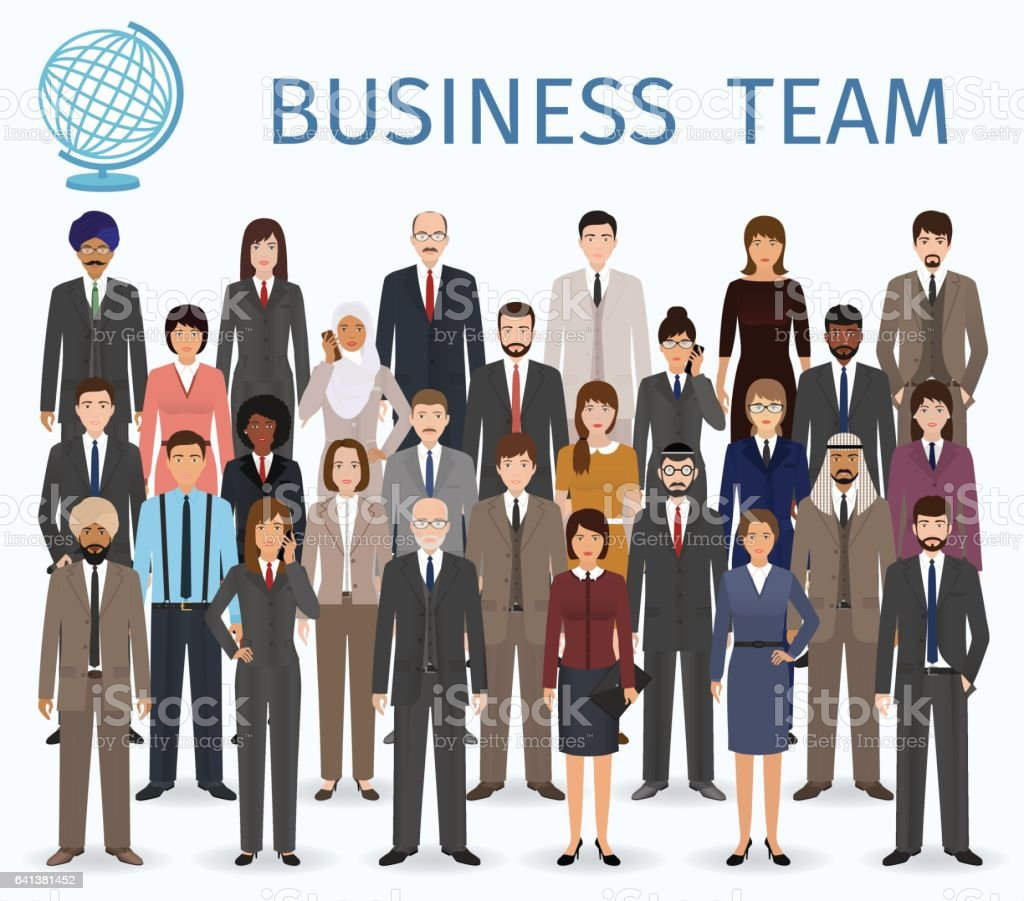 Business team. Group of detailed office employee people standing together. vector art illustration
