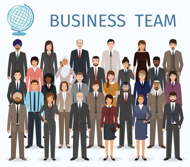 business team. group of detailed office employee people standing together. - business people stock illustrations, clip art, cartoons, & icons