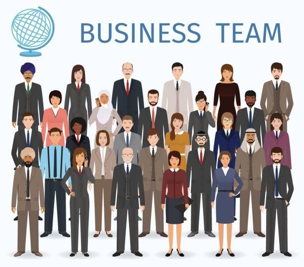 ilustraciones, imágenes clip art, dibujos animados e iconos de stock de equipo de negocios. grupo de personas empleados en toda oficina pie juntos. - gente de negocios