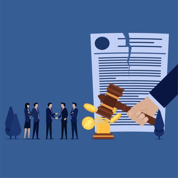 business team handshake for canceled verdict with money metaphor of corruption. - dollar bill stock illustrations
