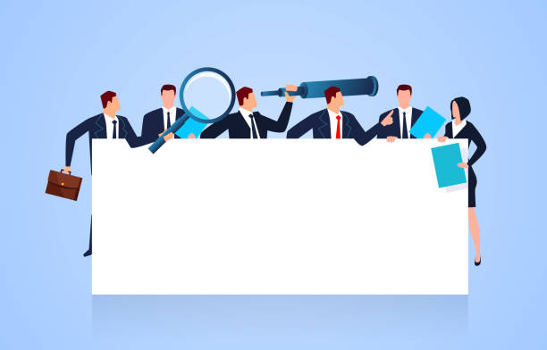 Business team holding and standing in front of blank board vector art illustration