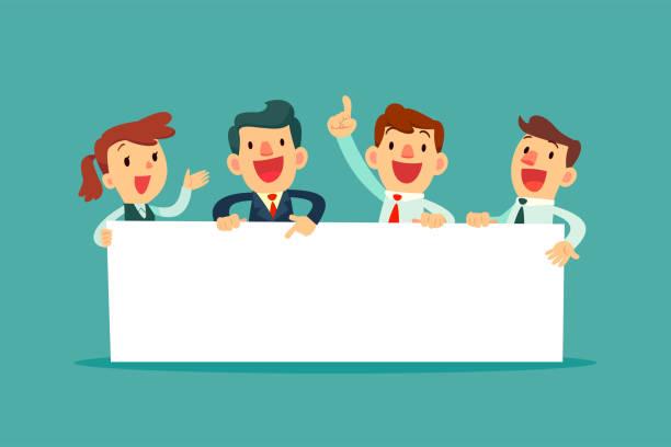 Business Team Holding leere Zeichen – Vektorgrafik