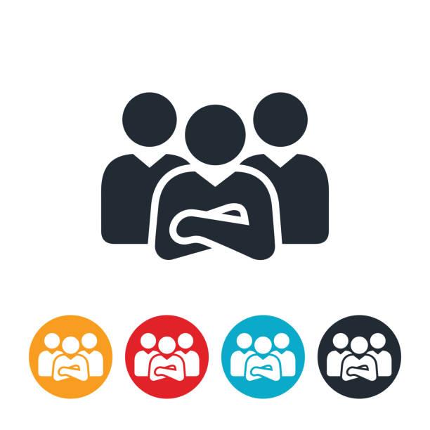 stockillustraties, clipart, cartoons en iconen met business team pictogram - drie personen