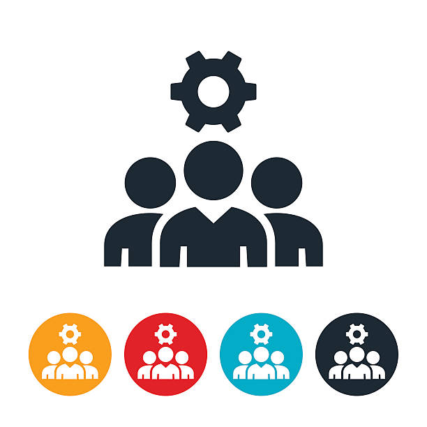Business Team Icon An icon of a business team with a cog above them. The icon symbolizes the production of a team of business people. coworker stock illustrations
