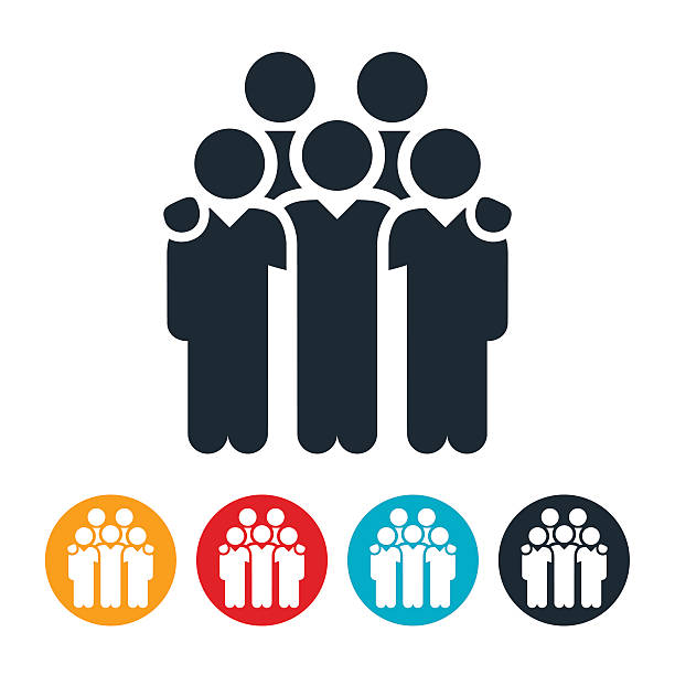 Business Team Icons An icon of a business team with arms around each others shoulders. The icons symbolizes unity between employees. colleague stock illustrations