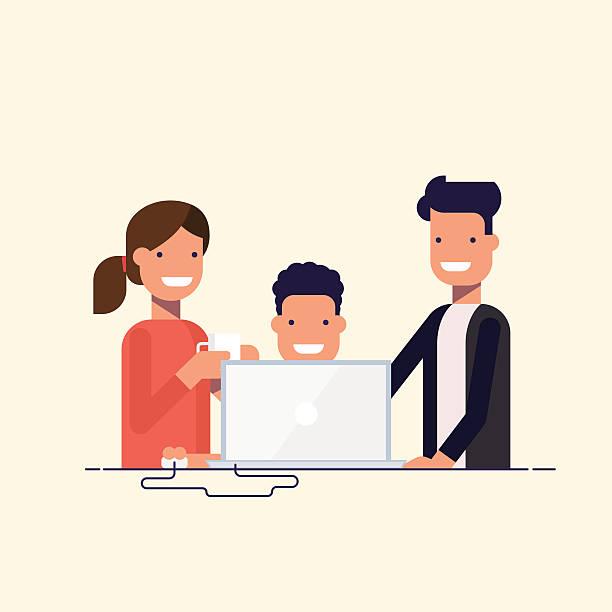 bildbanksillustrationer, clip art samt tecknat material och ikoner med business team in a work process or parent watch the - parent talking to child