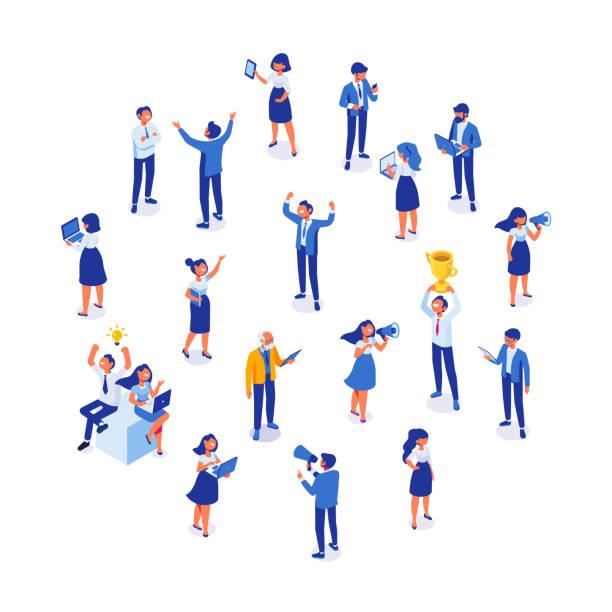 ilustrações de stock, clip art, desenhos animados e ícones de business team. isomeric business people vector set. - portrait of confident business