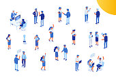 Office life. Isometric office workspace with people working together. Flat illustration.