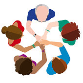 Vector Illustration of a Business Team Join Hands Mandala in a Top point of view