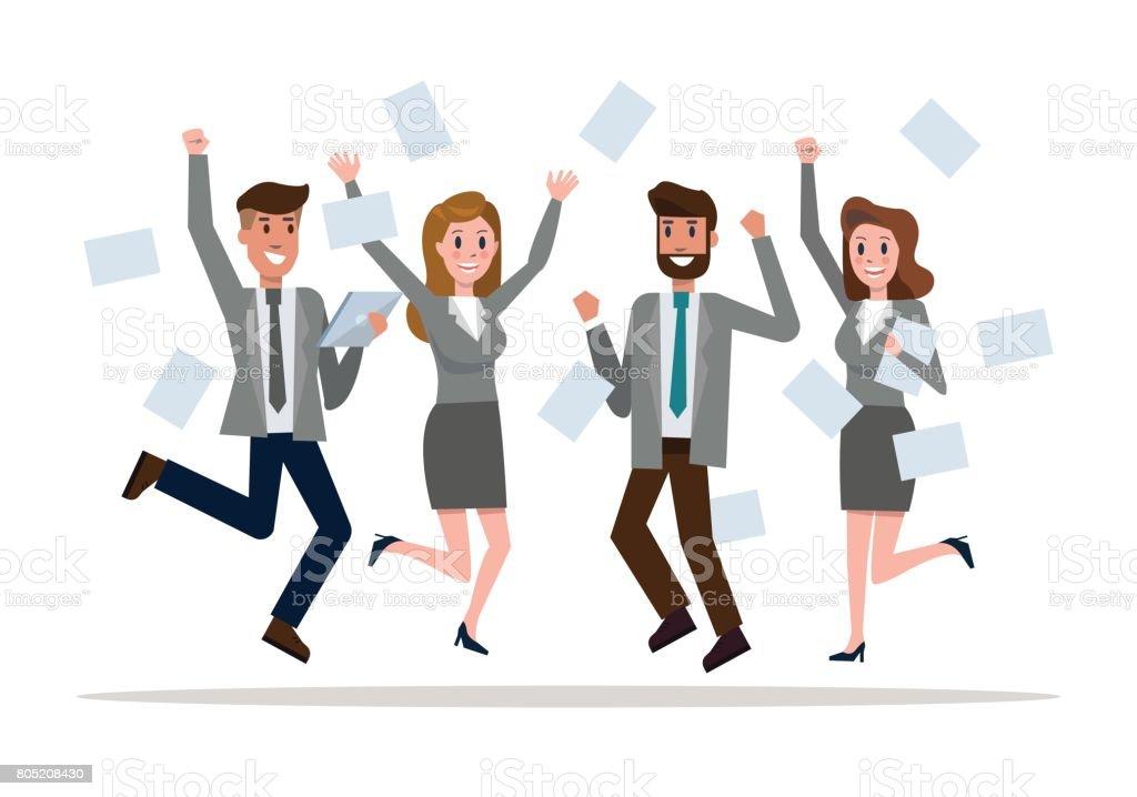 Business team jumping celebrating success. vector art illustration