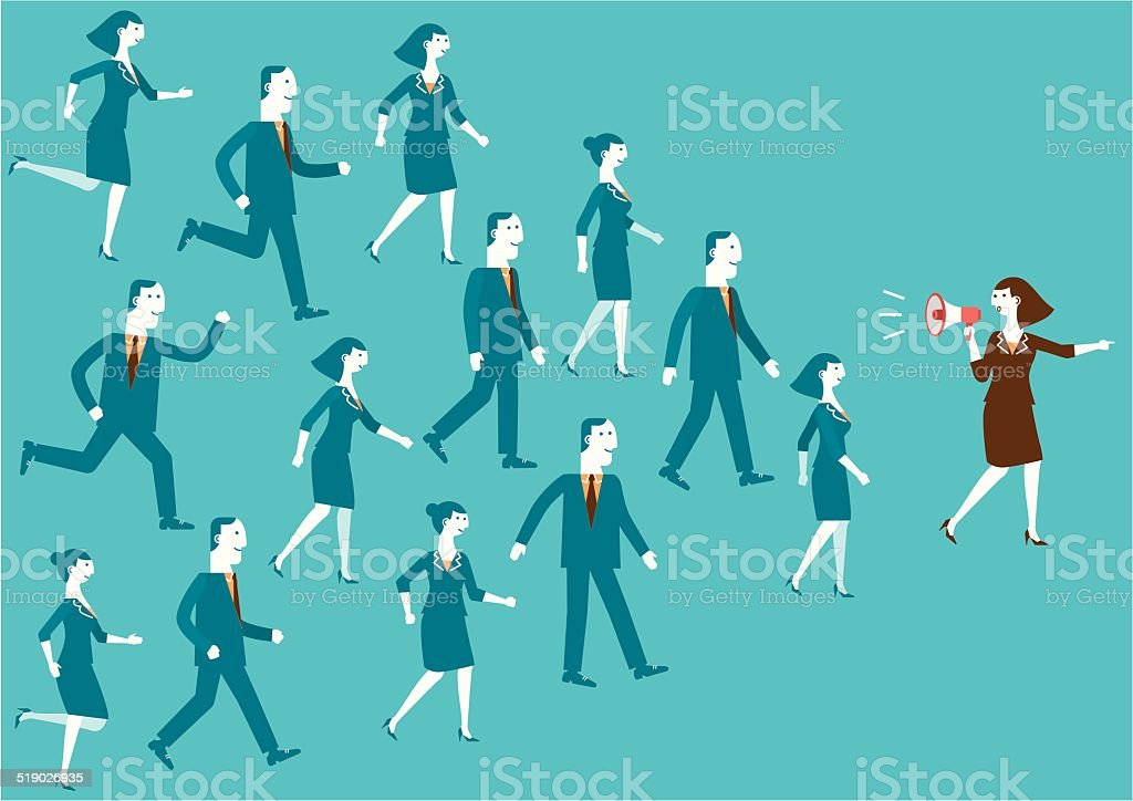 Business Team Leader with Megaphone | New Business Concept vector art illustration