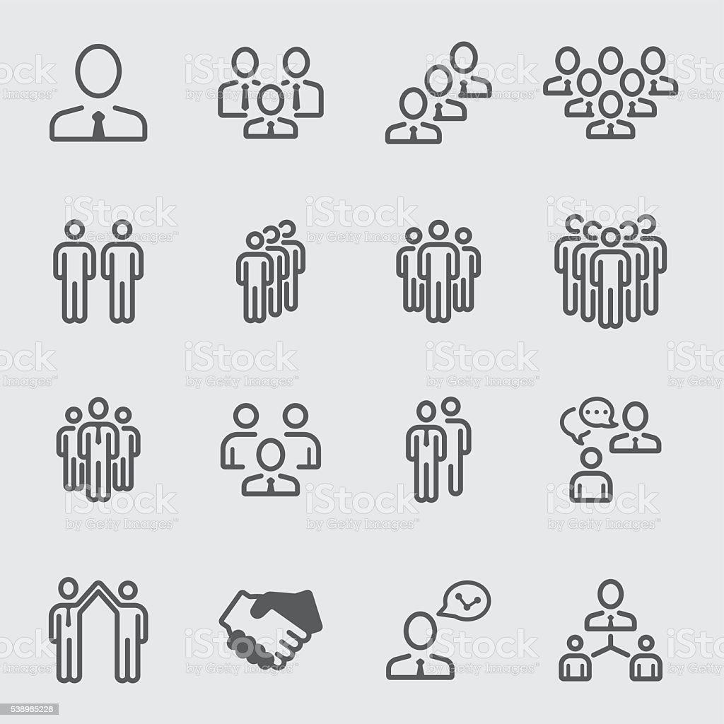 Business team line icon vector art illustration