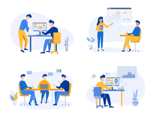 Business Team meeting, analysis, discussion concept, partnership, content strategy. Business concept of vector illustration Business Team meeting, analysis, discussion concept, partnership, content strategy. Business concept of vector illustration. meeting stock illustrations
