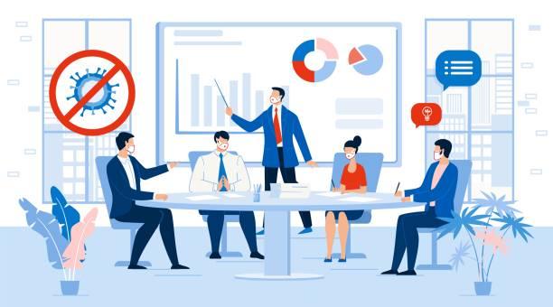 illustrazioni stock, clip art, cartoni animati e icone di tendenza di business team meeting contemporary management - businessman covid mask