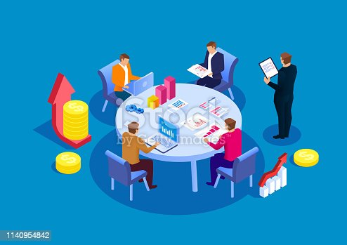Business team meetings and financial statistics