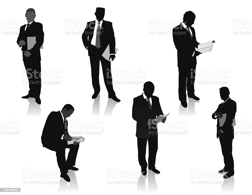 Business Team. Men with magazines royalty-free stock vector art