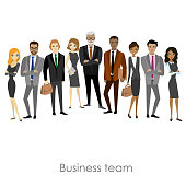 Business team of employees and the boss