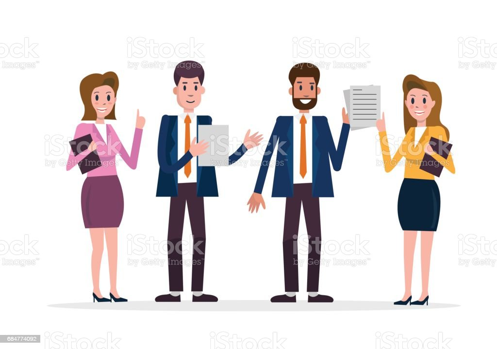 Business Team Of Employees Flat Character Design Vector ...