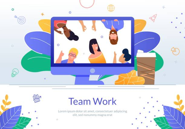 Business Team Online Kommunikation Vektor Poster – Vektorgrafik