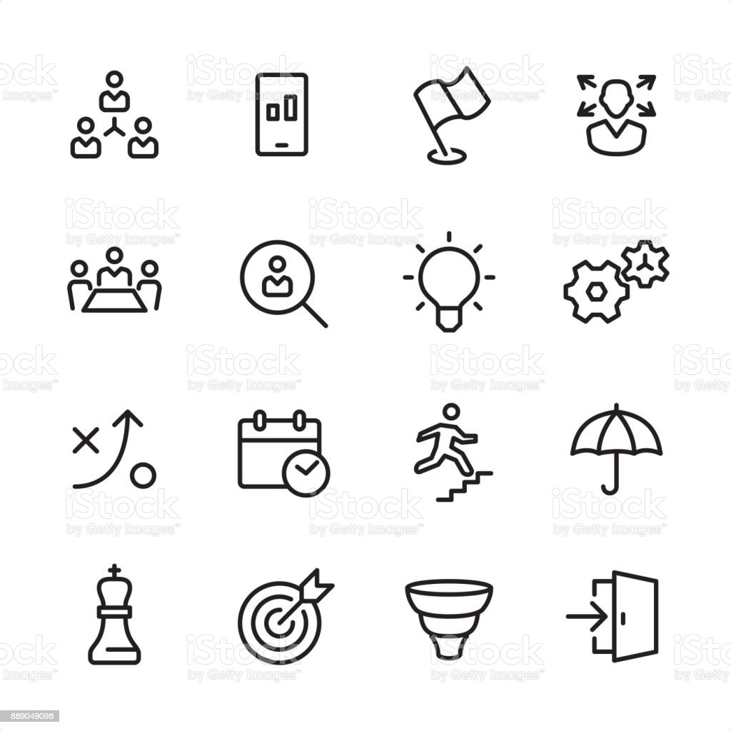 Business Team - outline icon set vector art illustration