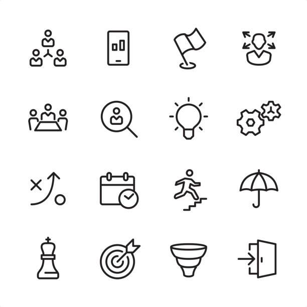 ビジネス チーム - アウトラインのアイコンを設定 - 玄関点のイラスト素材/クリップアート素材/マンガ素材/アイコン素材