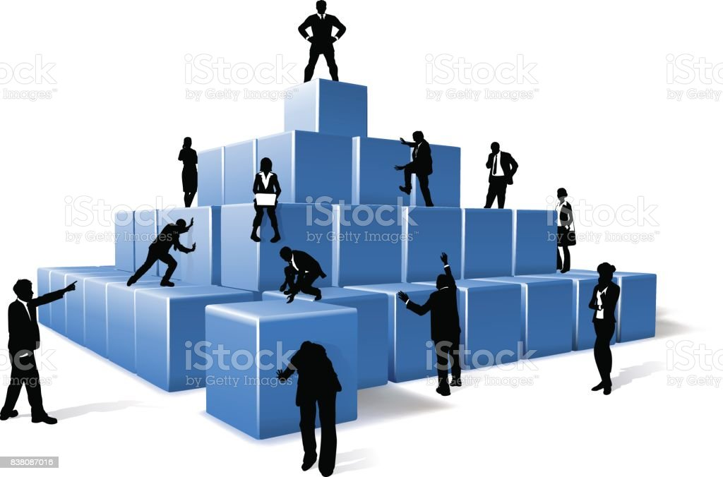Business Team People Silhouettes Building Blocks vector art illustration