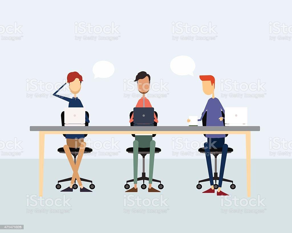 Imagenes De Personas Trabajando En Equipo: Ilustración De Equipo De Negocios Personas Trabajando Y